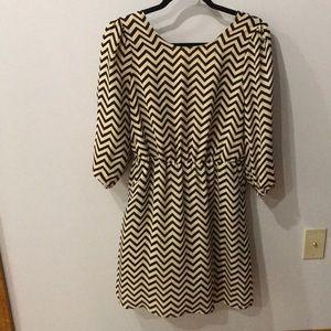 Black & Tan chevron dress